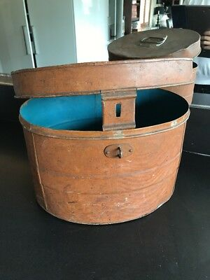 Tin metal Top Hat Storage Box Travel Case Vintage Antique Display Prop