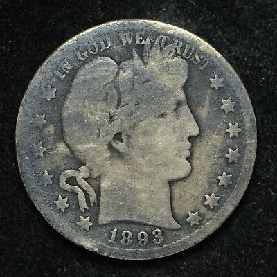 1893-S Barber Silver Half Dollar Key Date Low Grade Coin is Dark Color (cn5725)
