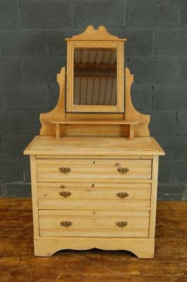 Edwardian Stripped Pine and Satinwood Dressing Table Chest of Drawers