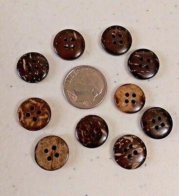 """20 SMALL BROWN 4-hole Coconut Shell Buttons 1/2"""" (12mm) scrapbook Craft (1157)"""