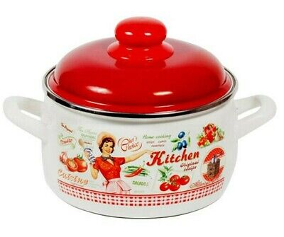 Large Enamelware Cooking Pot with Lid w/ Vintage Style Decal. Healthy Cooking