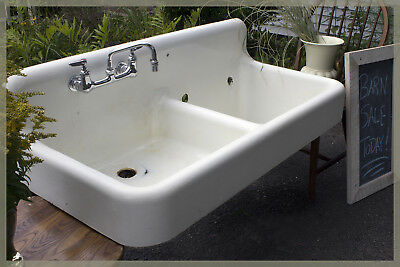 Vintage 1927 Antique Large Dual Staggered Basin Farmhouse Farm Laundry Sink