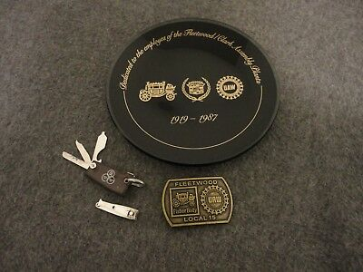 Cadillac Fleetwood/Clark Assembly/ Uaw/ Fisher-Plate 1919-1987/Buckle/ Key Chain