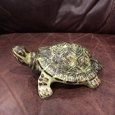 "VINTAGE BRUSH MCCOY ART POTTERY TURTLE - 7"" Garden Yard Ornament"