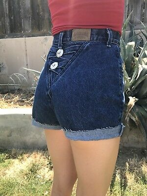 VTG 80s/90s ROUGH RIDERS CUT-OFF SHORTS DENIM DARK BLUE 24/25 XS HI WAIST CONCHO
