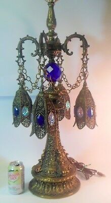 Superb vtg Antique Middle East Moroccan LAMP Swag Hollywood HAREM Regency