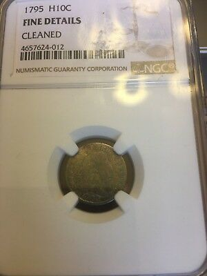 1795 Flowing Hair Half Dime NGC Fine Details Cleaned