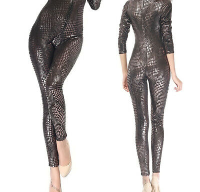 Gothic Domina Latex Catsuit, Latexcatsuit, Latexanzug, Schwarz-Silber, Gr. S-M