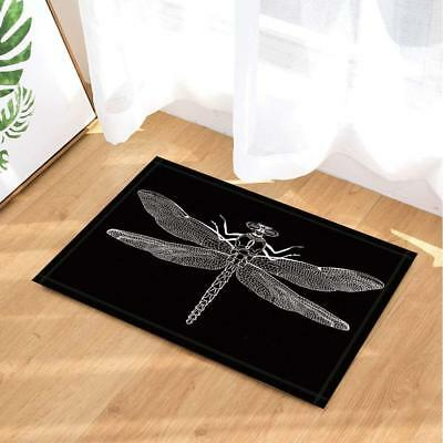 Insect Specimen Decor Bath Rug Black White Dragonfly Non-Slip Floor Door Mat