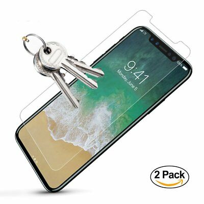 [2 Pack] 9H 3D Tempered Glass HD Screen Cover Protector for Apple iPhone X 10