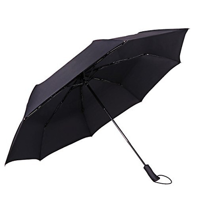 """Travel Umbrella Windproof 53"""" Vented Double Canopy Automatic Open Foldable Shade"""