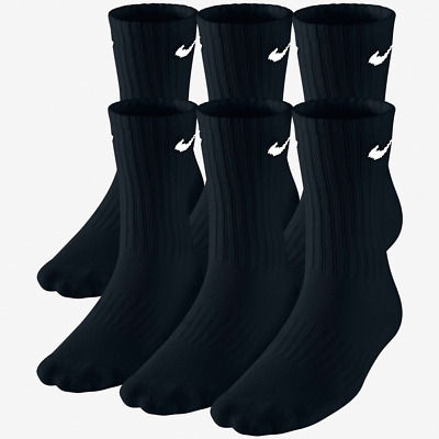 nEW Nike Performance Cotton Crew Youth 5Y-7Y Socks 6 Pack Moisture Wick Athletic