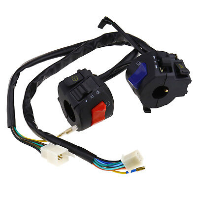 """Pair of 12V Motorcycle 7/8"""" Handlebar Horn Turn Signal Headlight Control Switch"""