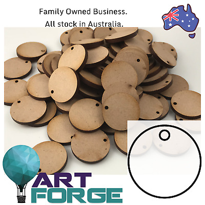 100 x MDF Wooden Shapes - Disk Base Tag with Holes - Circles - 25 mm (3mm Thick)