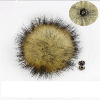 [EL] 5PCS Craft Diy 5-inch Large Faux Raccoon Fur Pom Ball With Knit Hat Button