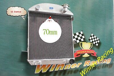 70MM aluminum radiator FOR Ford Model T bucket hot rod w/Chevy 350 SB V8 17-27AT