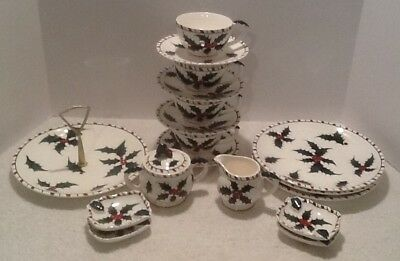 19 PC VTG 1950's LEFTON HOLIDAY CHRISTMAS HOLLY BERRY DISHES JAPAN NOS!