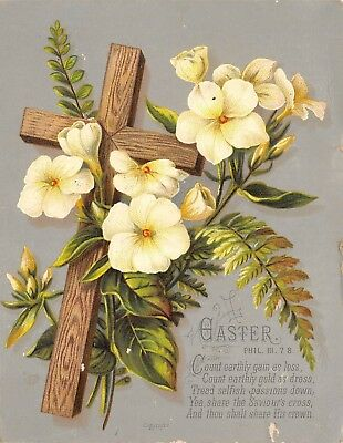 Christian Scripture Victorian Easter Greeting Card Cross Flowers Phil 3:7, 8