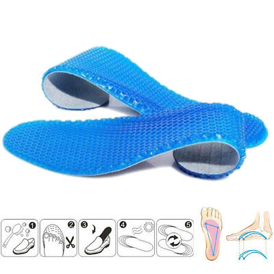 1 pair silicone insoles massaging orthotic arch sport shoe foot pad gel inso Sh