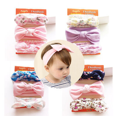 3pc Kids Cute Floral Head Band Girl Baby Toddler Infant Soft Bow Ribbon Fashion