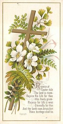 Christian Victorian Easter Greeting Card Rejoice at Easter-tide Cross Flowers