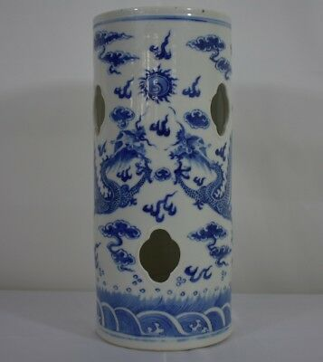 Antique Blue And White Chinese Hat Stand 19 c With Dragons