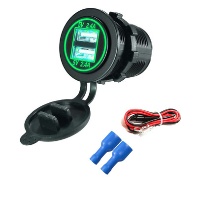 Green Light Waterproof Motorcycle ATV USB Charger Power Socket 2.4+2.4A w/ Cable