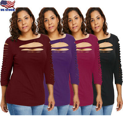 Plus Size Womens Ladder Ripped Cut Sexy T-shirt Slim Fit Long Sleeve Blouse Tops