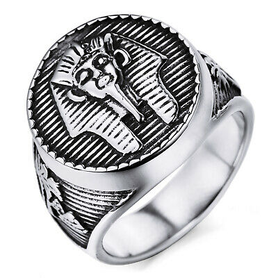 MENDINO Men's Stainless Steel Ring Ancient Egyptian Pharaoh Signet Band Silver