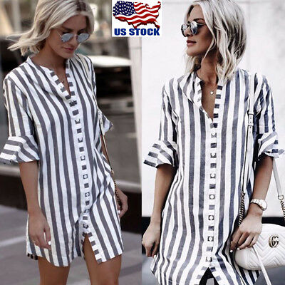 Women Horn Sleeve T-Shirt Ladies Office Striped Button Dress Tops Long Blouse US