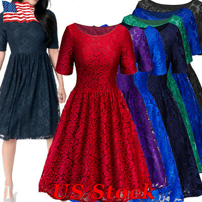 Women's Vintage Lace Formal Wedding Cocktail Evening Party Ladies Swing Dress