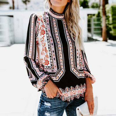 Fashion Ladies Women's Print Long Sleeve Stand Collar Chiffon Shirt Blouse Tops
