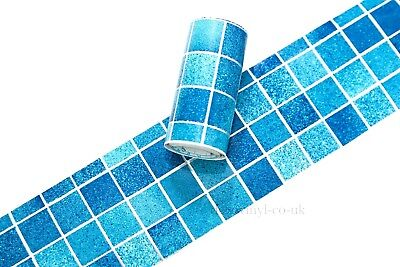 Blue Mosaic Peel Stick Wallpaper Border Sticky Back Self Adhesive Bathroom Check