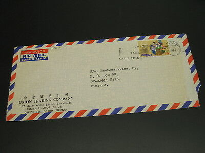 Malaysia 1974 airmail cover to Finland stained *15424