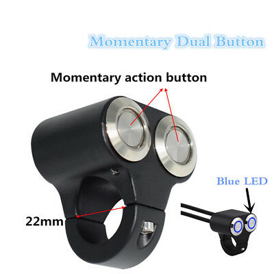 Momentary Dual Button 22mm LED Motorcycle Start Kill Switches Handlebar On/Off
