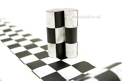 Black White Mosaic Peel Stick Wallpaper Border Sticky Back Self Adhesive Check
