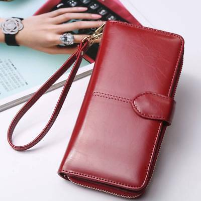 Women Long Leather Clutch Wallet Large Capacity Purse Card/Phone Holder Zip AU