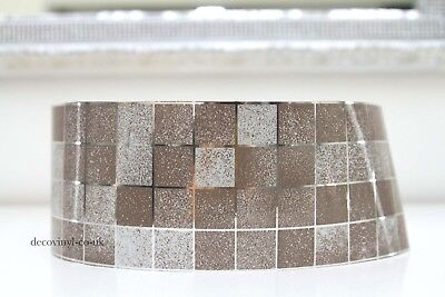 Brown Silver Mosaic Peel Stick Wallpaper Border Sticky Back Self Adhesive Check