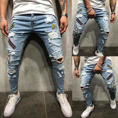 Mens Stretchy Ripped Skinny Jeans Destroyed Frayed Slim Fit Denim Pants Trousers