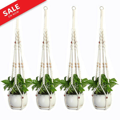 Pot Holder Macrame Plant Hanger Hanging Planter Flower Basket Jute Rope Braided