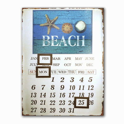 Tin Retro French  ~ Beach ~ SIGN ~ Plaque ~  Wall Art ~ Magnetic Calendar