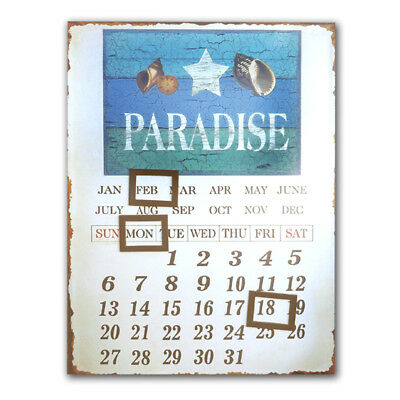 Tin Retro French  ~ Paradise ~ SIGN ~ Plaque ~  Wall Art ~ Magnetic Calendar
