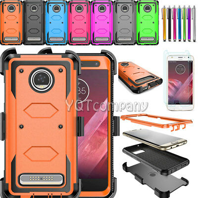 For Motorola Moto Z2 Play /Force Phone Case With Kickstand Clip+Screen Protector