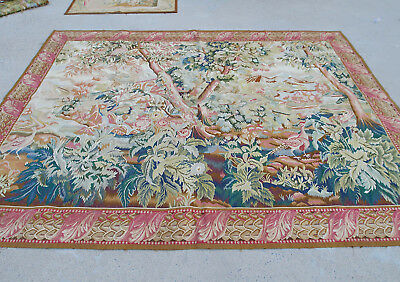 7.4' X 10' Beautiful Aubusson Landscape Tapestry Hand Crafted Dense Woods Trees