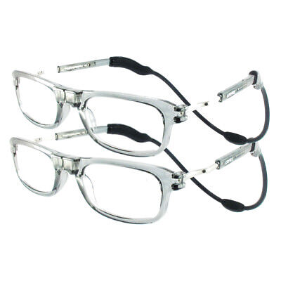TWIN-PACK SAVE £10 Loopies Grey High Quality Magnetic Reading Glasses 50% OFF