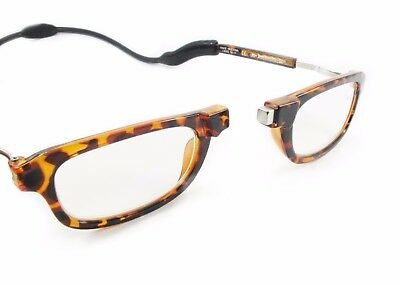 Magnetic Reading Glasses with Neck Loop Case & Cloth Tortoise Shell 75% off Rrp