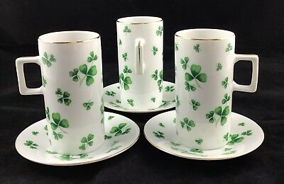 Made Expressly for Neiman-Marcus Gold Trim Green Shamrock 3 Cups 3 Saucers