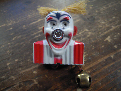 Vintage Light Up Nose Twinkie The Clown Lapel Pin Pull Bell  Working Christmas