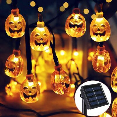 Solar Powered Pumpkin 6m 30 LEDs String Lights Halloween Party Garden Decor UK