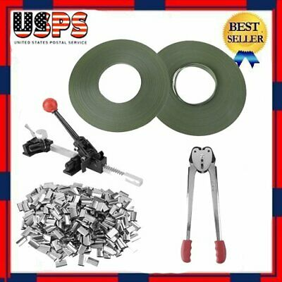 Strapping Tool Complete Kit + Metal Seals + Poly Strap Banding Roll Supply set B